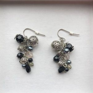 Guess silver and black beaded earrings